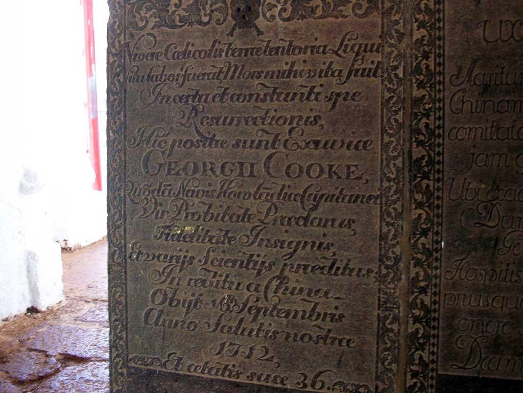 Lápidas que recuerdan el paso de los europeos por Malacca