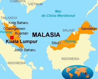 Mapa de Malasia y la isla de Borneo, localización de Malasia en el sudeste Asiático