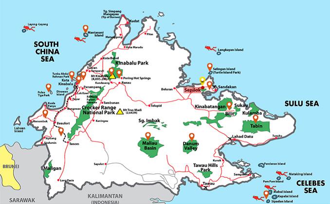 Dónde está la reserva de orangutanes Sepilok en Sabah Borneo