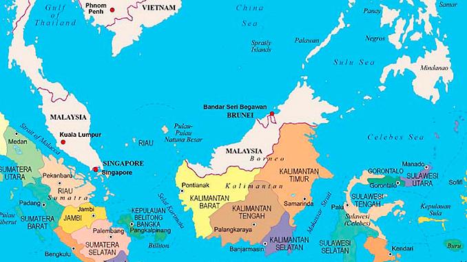 Localizacion isla de Borneo una de las más grande del planeta