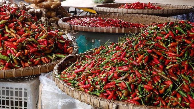 Especias chili en Borneo