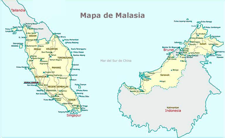 Mapa de Malasia isla de Borneo