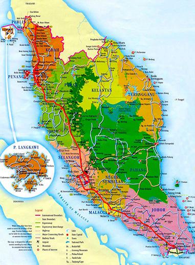Mapa de Malasia y ciudades más importantes