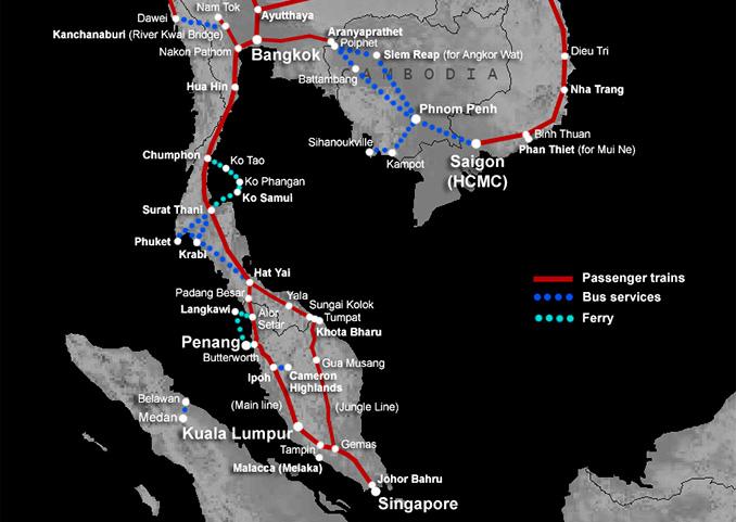 Tren que une Singapur con Bangkok pasando por Kuala Lumpur
