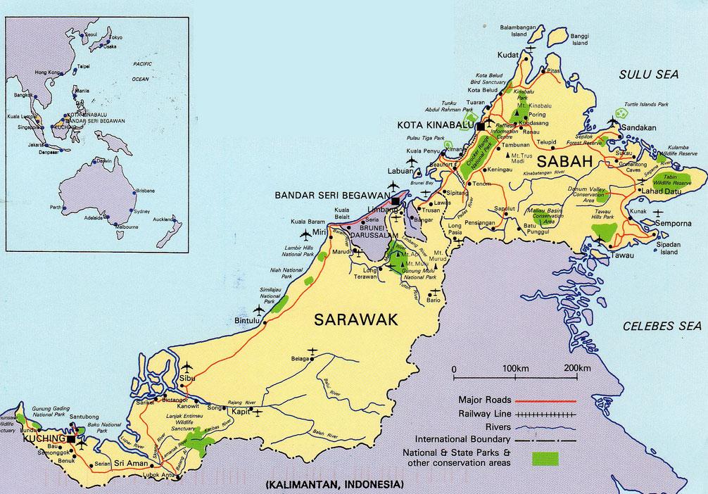 Mapa de la Isla de Borneo