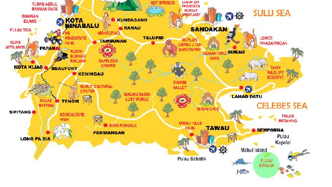 Mapa Localización Sipadan Borneo Malasia