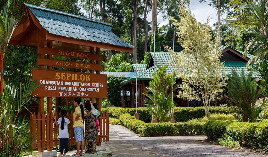 Entrada Reserva Sepilok al visitar orangutanes en la isla de Borneo