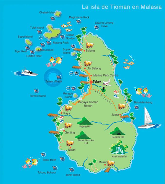 Mapa y localización de la isla de Tioman en Malasia