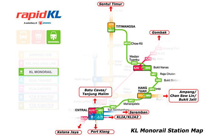 Mapa del monorraíl de Kuala Lumpur