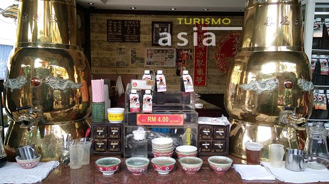 Los te de hierbas en el barrio chino de Kuala Lumpur