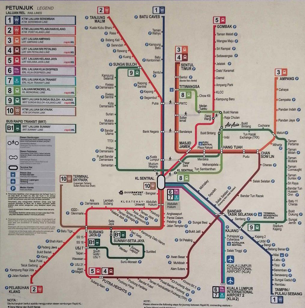 mapa del transporte público de Kuala Lumpur actualizado